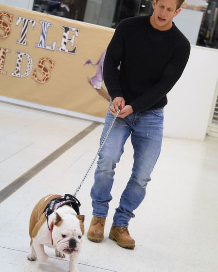 Bulldog Dr Watson with associate director David Barrett in the doggy auditions for Legally Blonde at