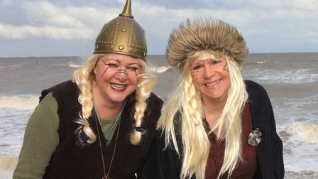 Vicious vikings Vicky Holyfield and Erica Deojay get geared up for this year's Scira Festival. Photo