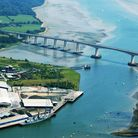 An aerial view of the bridge - with Ipswich's adopted Royal Naval vessel HMS Grafton clearly visible