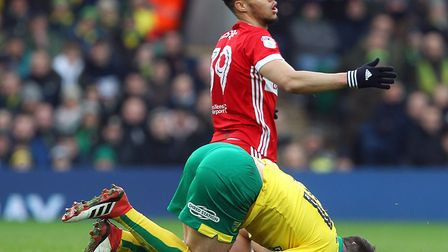 Rudy Gestede was sent off in the first half at Carrow Road for a lunge on Grant Hanley. Picture: Pau