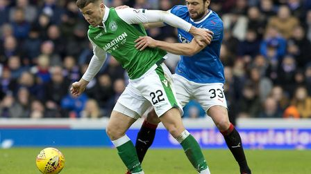 On-loan Norwich defender Russell Martin, right, in action for Rangers against Hibs. Picture: PA Wire