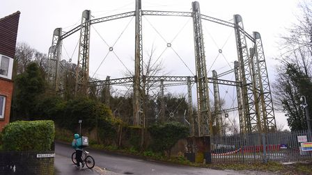 The gas holder at Gas Hill. Plans have been put forward to demolish it. Picture: DENISE BRADLEY