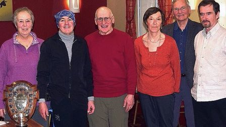 Sue Gatehouse with medal winners, from left, Robert Amies, Dave Anness, Rita Murrell, Tom Elkins and