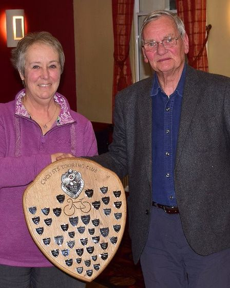 Tom Elkins receives the Service Shield from Member Group Chair Sue Gatehouse. Picture: ROBERT AMIES