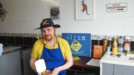 Callum Haggarty of Flaming Galah's Aussie Pie Stop. Picture: DAVID HANNANT
