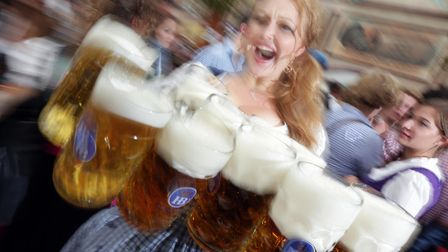 """File photo from the """"Hofbraeuzelt' beer tent at """"Oktoberfest"""" in Munich. Picture AP Photo/Matthias S"""