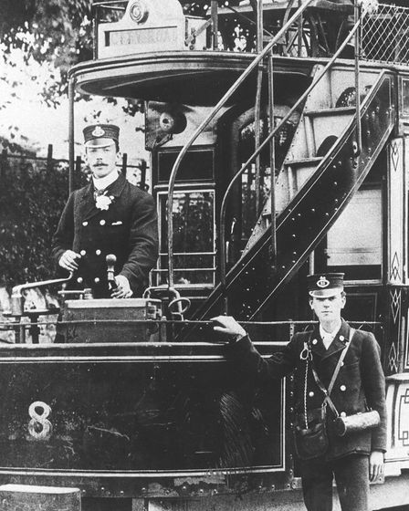 George Hill pictured driving his tram in 1902. Photo: Archant Library