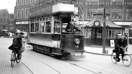 Norwich trams travelling towards Newmarket Road Photo: Archant Library