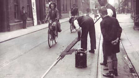 Tram lines being filled in, Norwich 1936. Photo: Archant Library