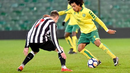 City youngster Bilal Kamal tries to find a way through the Newcastle defence. Picture: Nick Butcher