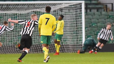 Newcastle celebrate Kelland Watts opening the scoring at Carrow Road. Picture: Nick Butcher