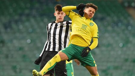 City's Max Aarons goes up for a header during City's FA Youth Cup clash against Newcastle. Picture: