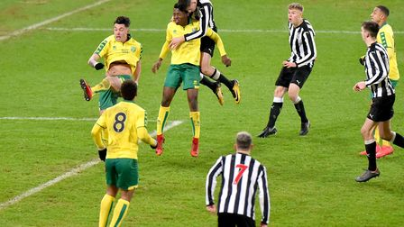 FA Youth Cup 5th round action between Norwich City Under18's and Newcastle United Under18's.Picture: