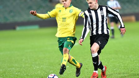FA Youth Cup 5th round action between Norwich City Under18's and Newcastle United Under18's.Alfie Pa