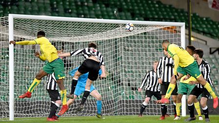 FA Youth Cup 5th round action between Norwich City Under18's and Newcastle United Under18's.Timi Odu