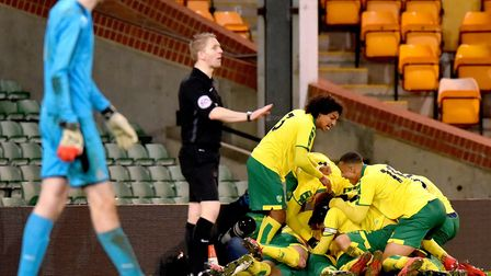 FA Youth Cup 5th round action between Norwich City Under18's and Newcastle United Under18's.Alan Fle