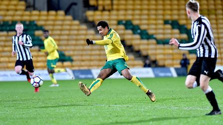 FA Youth Cup 5th round action between Norwich City Under18's and Newcastle United Under18's.Isak Tho