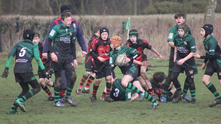 Beccles Under-13s on the front foot against Wymondham. Picture: Beccles RFC