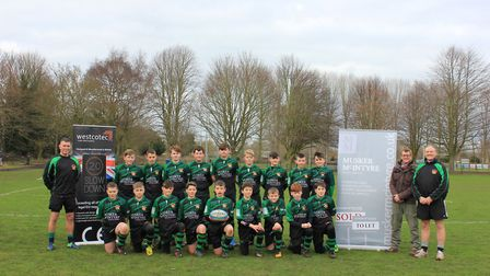 Beccles Rugby Club's Under-13s line up for a team photograph. Picture: Beccles RFC