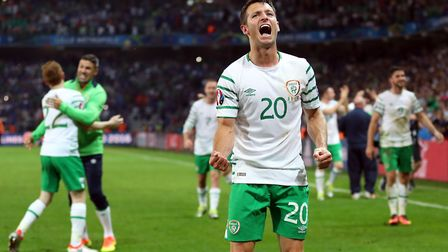 Wes Hoolahan celebrates a famous Irish victory over Italy at Euro 2016. Picture: PA