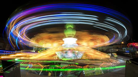A ride lights up the Tuesday Market Place. Picture: Matthew Usher.