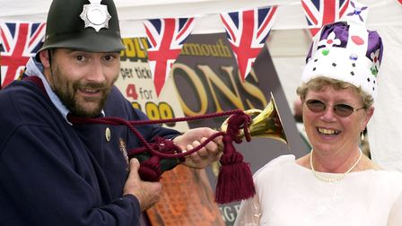 Martham Carnival 2002. Philip Mobbs from Great Yarmouth Lions Club with Brenda Tubby from 1st Martha