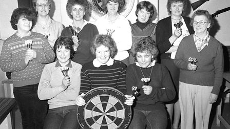 The Ladies darts team at the George and Dragon at Farnham, near Saxmundham, pictured in March 1983.