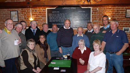 Last outpost: Players in one of the recent Monday night phat drives at The Wherry Inn, Geldeston, ne