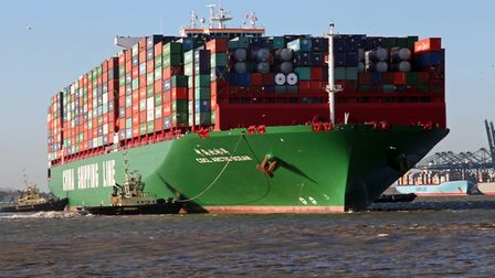 The huge container ship CSCL Arctic Ocean is pictured arriving at Felixstowe. The China Shipping Lin
