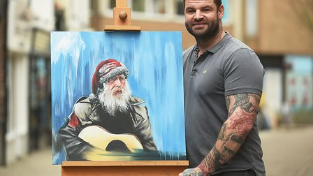 Luke Taylor, from Taylormade Tattooz in King's Lynn, painted this picture of Juggling Jim before the