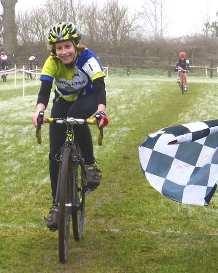 A victory smile as Florence Barnett (King's Lynn CC) wins the Under 12s at the Iceni Velo cyclo-cros