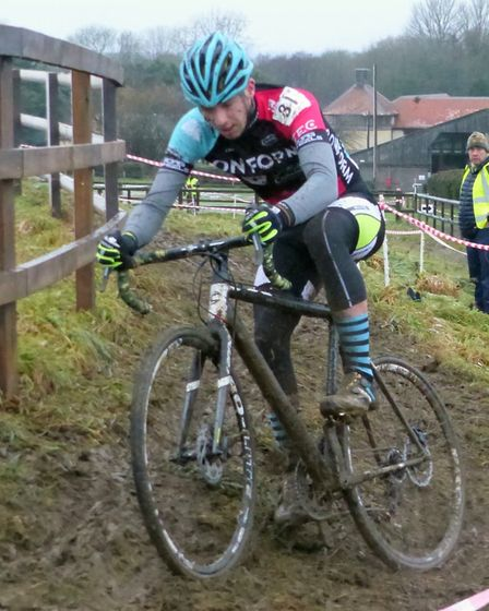 Dickleburgh rider Kieran Jarvis (3rd Senior) controls a slide at the Iceni Velo cyclo-cross. Picture