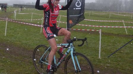 Ceci Hime (St Ives CC) wins the women's race at the Iceni Velo cyclo-cross at World Horse Welfare, S