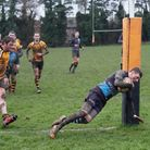 Josh Gee touches down for the first of his brace of tries for Fakenham against Swaffham last week. P