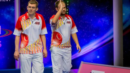 Jamie Chestney and Mark Dawes acknowledge the crowd following their Pairs final victory over Greg Ha
