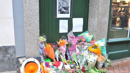 Tributes in King's Lynn High Street to the busker Juggling Jim. Picture: Chris Bishop
