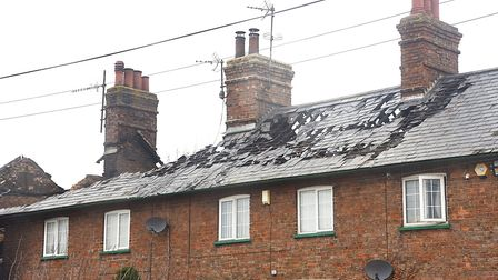 The fire has badly affected all four properties at the terrace on Sutton Road in Walpole Cross Keys.