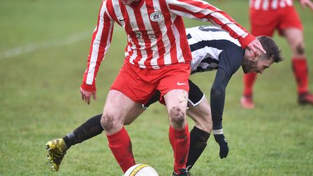 Action from Harleston's 2-1 win over Norwich CEYMS. Picture: ANTONY KELLY