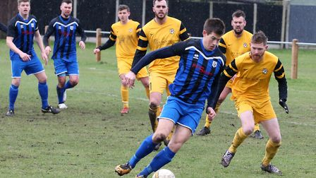 Mulbarton Wanderers' Ben Thompston scored his side's second goal in their win over Waveney. Picture:
