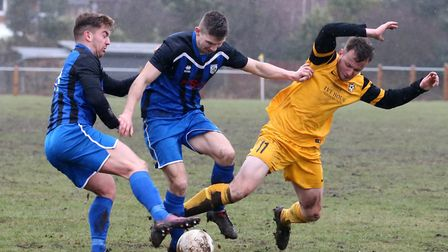 Action from Mulbarton Wanderers' 3-0 win over Waveney. Picture: Steve Wood