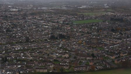 An aerial view of housing at Hellesdon. Picture: DENISE BRADLEY