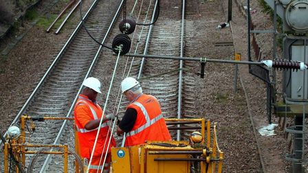 Network Rail carrying out engineering work on the Liverpool Street to Norwich line. PICTURE; STEPHE