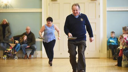 Dennis Talon having a flipping great time at the Swaffham Lions Pancake Day racing event. Picture: I