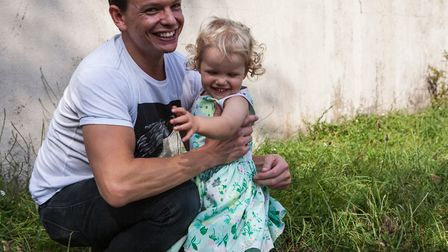Damion Burbank with daughter Olive. Picture: Charlotte Anderson