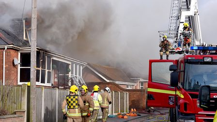 Firefighters attend the scene of a house fire on Addison Road, Gorleston.Picture: Nick Butcher