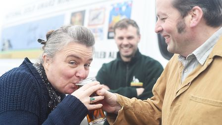 Claire Nugent tasting the beer Drink to Remember which will launch at rhe CAMRA Great British Beer F