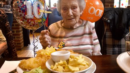 Joy Thomas, celebrating her 100th birthday with a visit to her favourite fish and chip Restaurant, T