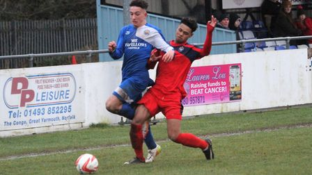 Action from Kirkley & Pakefield's 1-0 defeat against Hadleigh. Picture: Bryan Grint