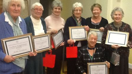 Sprowston WI celebrate 300 years of membership between seven members. Photo: Sprowston WI