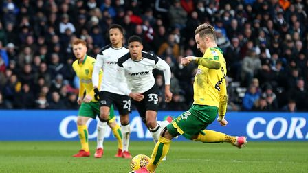 James Maddison kept his nerve to equalise from the penalty spot at Derby. Picture: Paul Chesterton/F